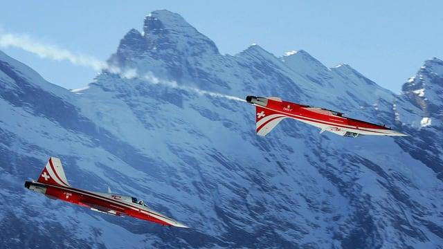 Dus aviuns da la Patrouille Suisse dal tip «Tiger» avevan strivla in l'auter durant in sgol da trenament (maletg simbolic).