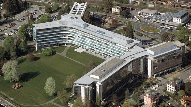 Luftaufnahme des Hauptsitzes in Vevey