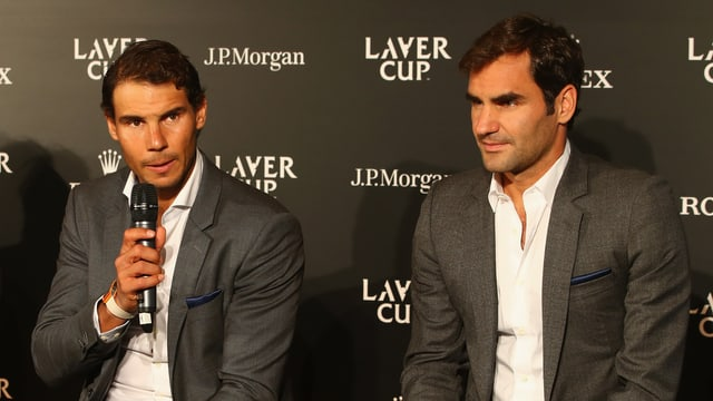 Rafael Nadal und Roger Federer nehemn an der Laver-Cup-Präsentation teil.