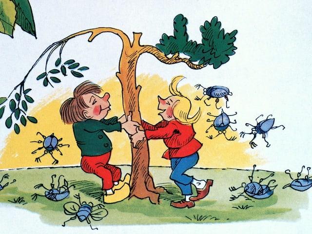 Bild von Wilhelm Busch: Max und Moritz schütteln Maikäfer aus einem Baum.