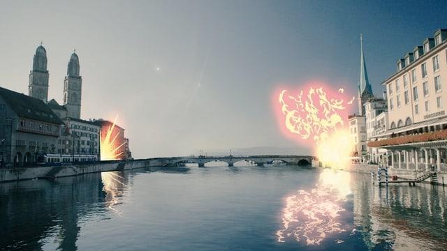 Zürichs Altstadt wird in dieser Bild-Collage weggesprengt.