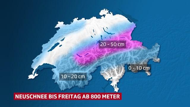 Eine Karte zeigt die erwarteten Schneemengen.