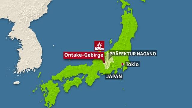 Karte von Japan mit Ontake