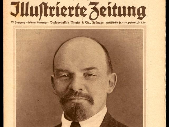 Zeitungsausschnitt mit Lenins Kopf im Bild