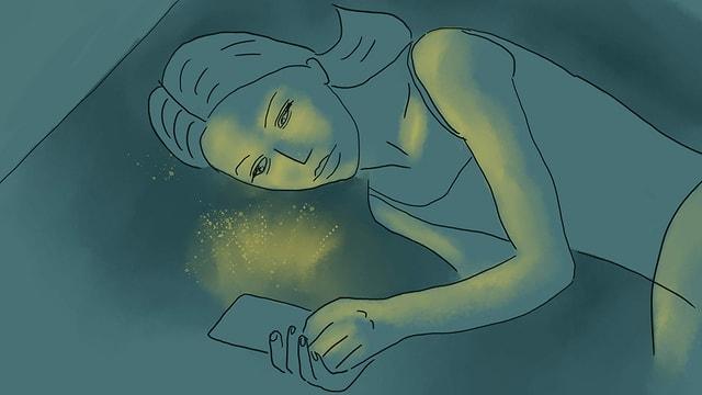 eine Illustration, die ein Mädchen im Bett am Handy zeigt