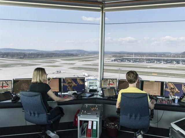 Blick in den Tower am Flughafen Zürich