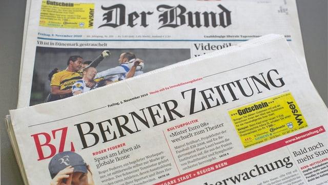Blick auf eine «Berner Zeitung» und auf den «Bund»