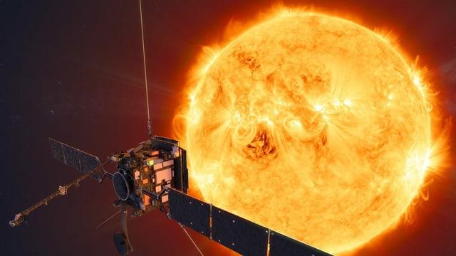 Raumsonde vor der Sonne