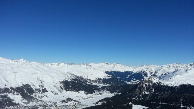 Blauer Himmel, Schneebedeckte Berge.