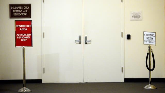 Verschlossene Türen beim UNO-Sicherheitsrat in New York.