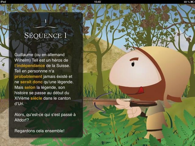 Der Titelbildschirm der ersten Sequenz des iBooks.