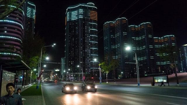 Nachts unterwegs in Pjöngjang