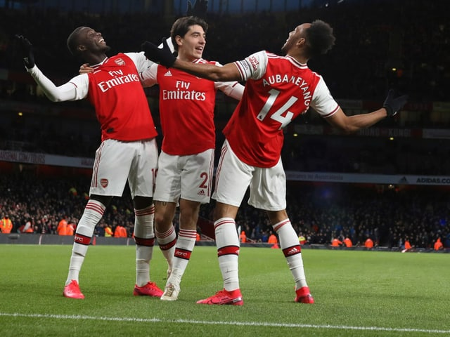 Die Arsenal-Spieler beim Sieg gegen Everton.