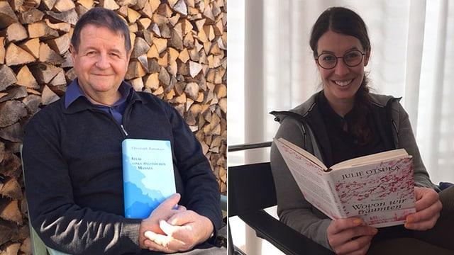 Hanspeter Müller-Drossaart und Dominique Gisin mit ihren Lieblingsbüchern.
