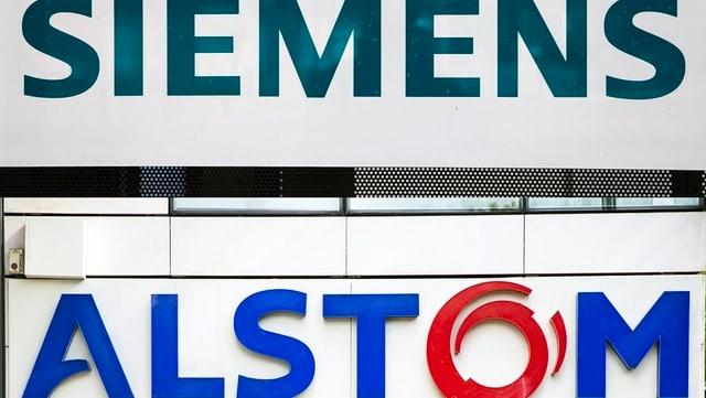 Alstom- und Siemens-Schild