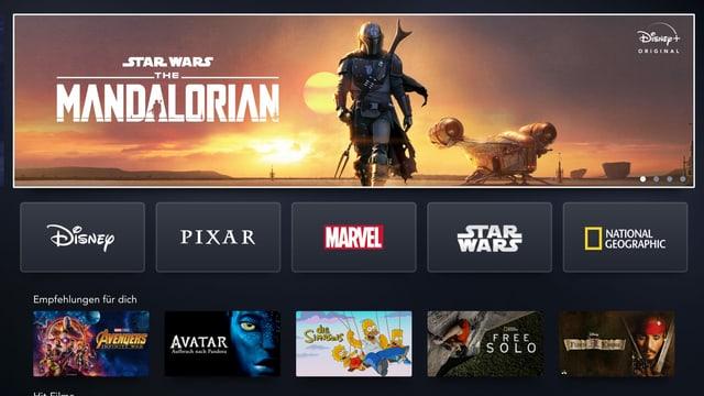 Die Benutzer-Oberfläche der Streaming-Plattform Disney+ mit einem Banner der Serie «The Mandalorian»