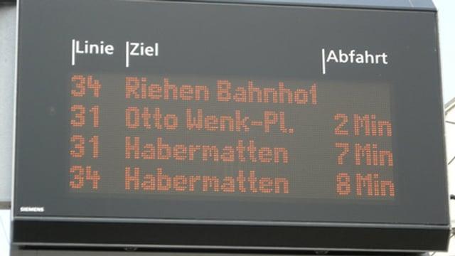 Anzeigetafel mit geplanten Ankunftszeiten