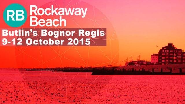 Festivalplakat. Sicht auf Bognor Regis vom Meer aus
