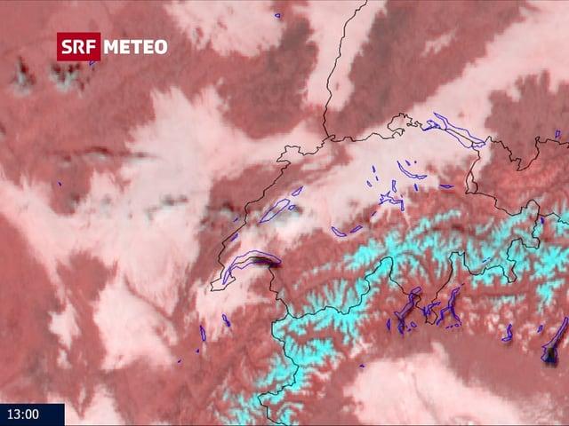 Hochnebel über Schweiz, vom Satelliten aus betrachtet.