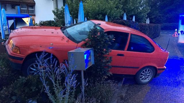 Ein rotes Auto steht schräg in einem Garten