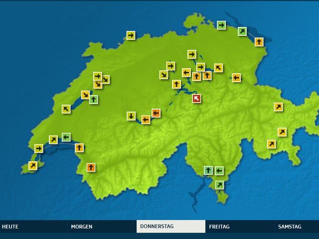 Ein Screenshot der Übersichtskarte mit farbigen Pfeilen auf der Schweizerkarte.