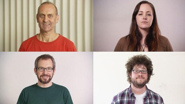 Vier Filmvorführer: Hans X. Hagen, Filmpodium (Zürich), Isabelle Boutellier, Kino Seehof (Zug), Oswald Iten, Kino Gotthard (Zug), Dustin Rees, Kino Orient (Wettingen).