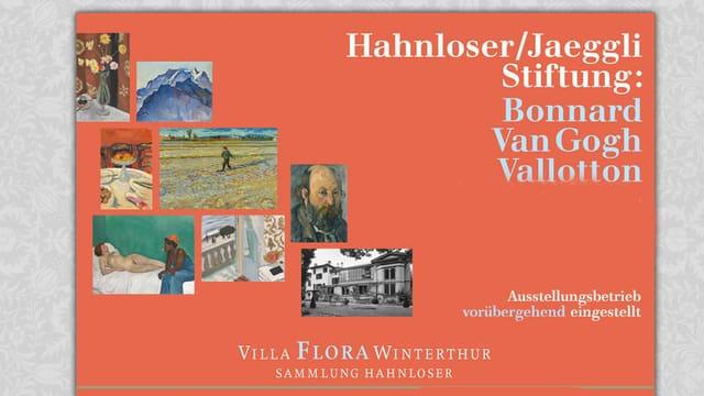 Die Website der Villa Flora: verschiedene Bilder auf orangem Hintergrund.