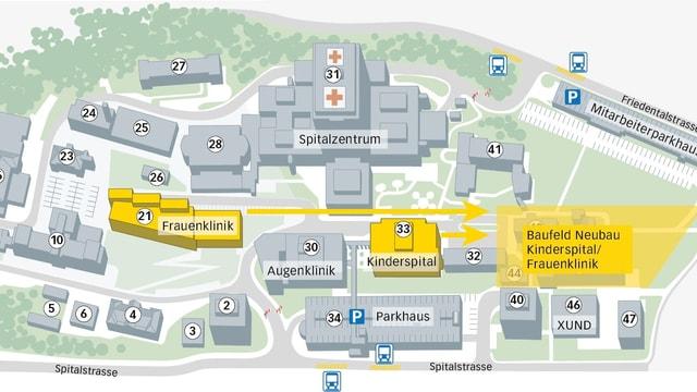 Eine Grafik mit verschiedenen Gebäuden des Luzerner Kantonsspitals mit gelb eingezeichneten Neubauten.