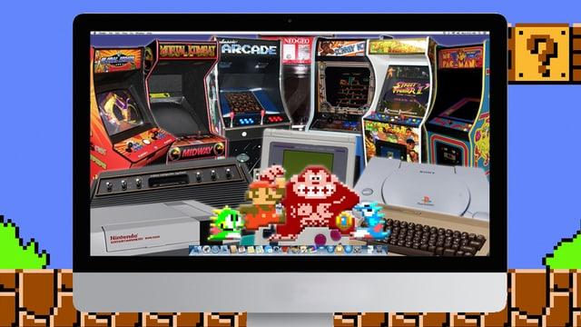 Fotomontage mit alten Games und Spielkonsolen im Bildschirm eines iMacs.