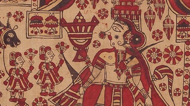 Ausschnitt aus einem Tempeltuch, sichtbar sind die Göttin Meladi und zwei Priester, die ihr Opfergaben bringen.