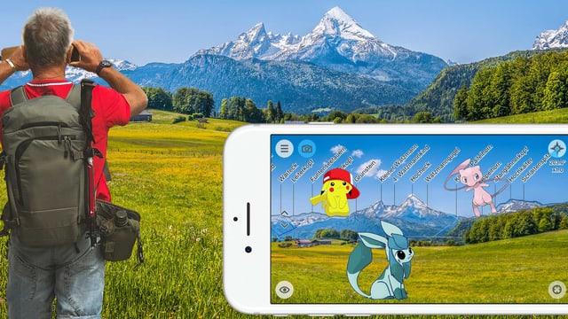 Ein Wanderer, der mit seinem Handy die Namen der Berge bestimmt, mit «Peakfinder», auf dem Display drei Pokémon-Figuren.