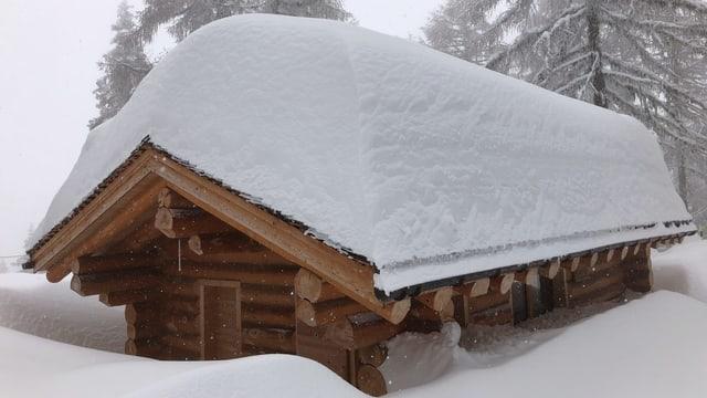 Verschneite Holzhütte auf der Bettmeralp