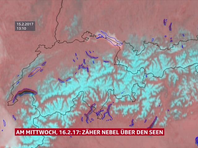 Satellitenbild von der Schweiz: Einzig auf dem Neuenburger- und Bodensee hat es Nebel