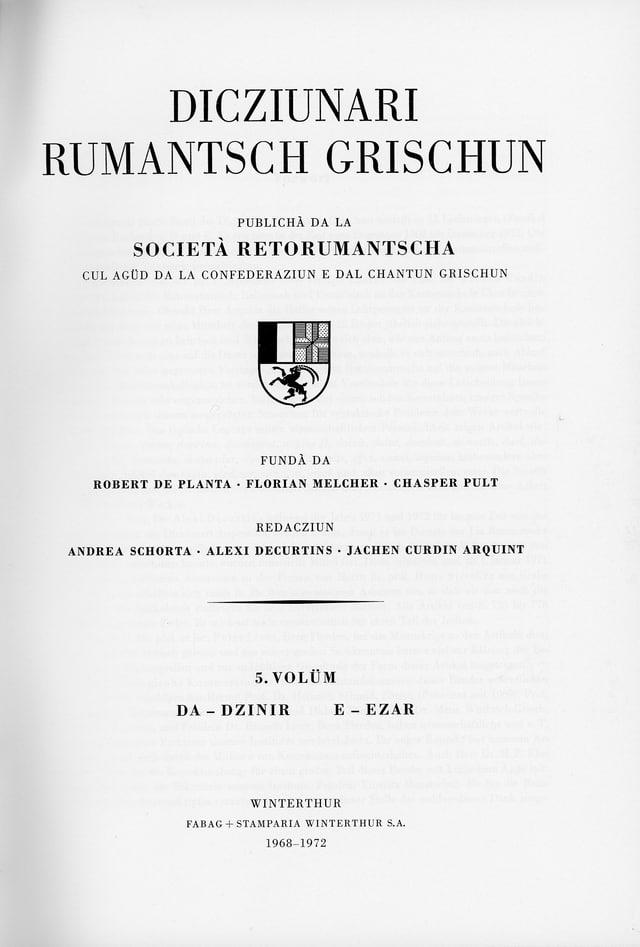 Frontispizi dal Dicziunari Rumantsch Grischun (DRG)