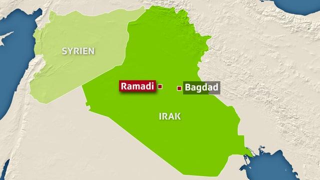Karte des Irak.