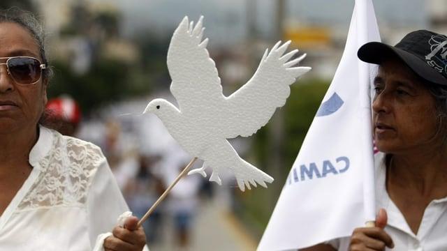 Friedenskundgebung, jemand hält eine ausgeschnittene weisse Taube in der Hand.