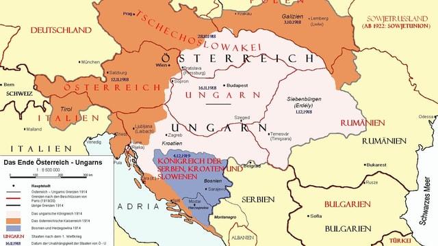 Karte von 1919 von Zentraleuropa.