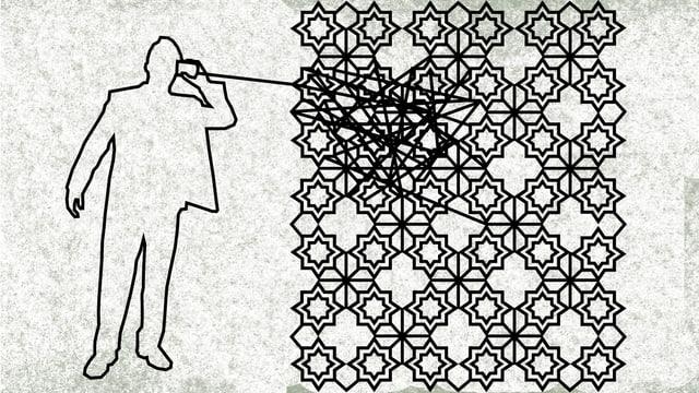 Illustration: Ein Mann lauscht an einem Hörer. Davon geht eine Linie aus, die sich in einem islamisch anmutenden Ornament verstrickt.