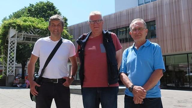 Peter Buschor (SP), Res Lerch (Stadtblogger) und Marcel Müller (FDP) diskutierten über die tiefe Wahlbeteiligung in Rorschach.