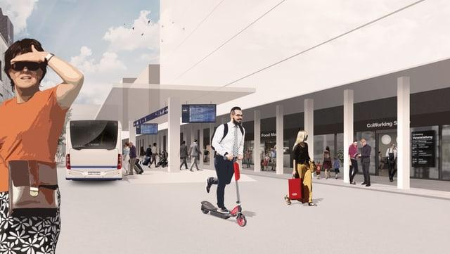 Der geplante Busbahnhof in der Zuger Gemeinde Risch.