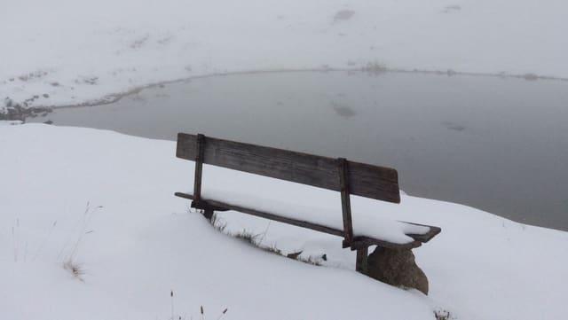 Eine Bank an einem See im Schnee