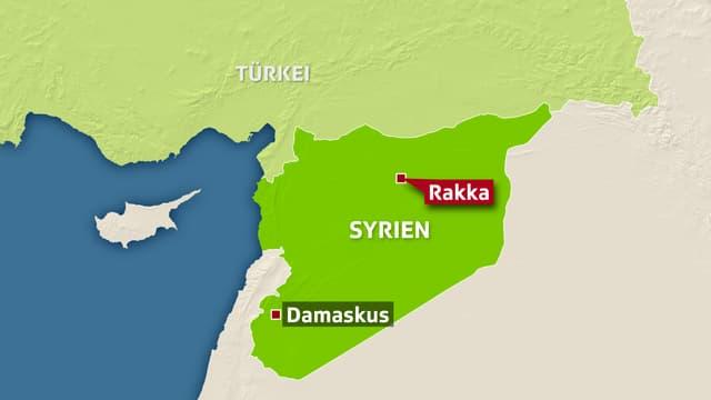 Karte Syriens mit Damaskus und Rakka eingezeichnet.