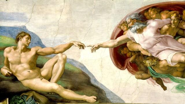 Zwei Männer berühren sich mit ihren Zeigefingern.