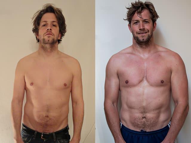2 mal Loosli: Links vor dem Training, rechts danach - deutlich muskulöser.