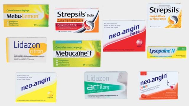 Zehn Verpackungen mit Halswehtabletten.