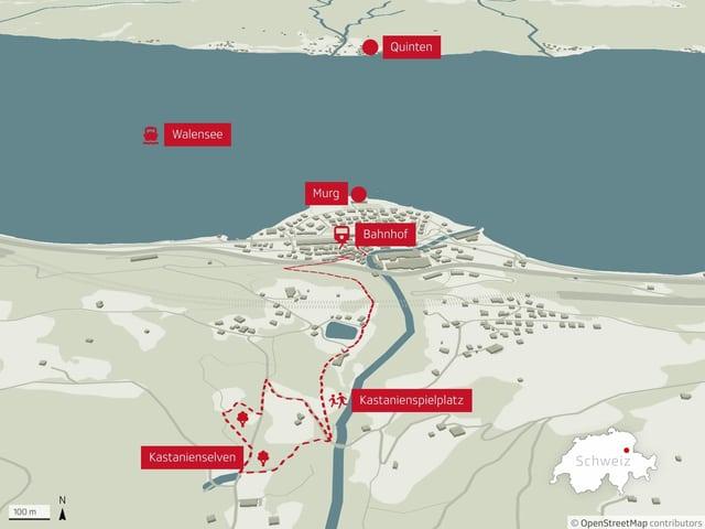 Karte des Kastanienwegs Murg.