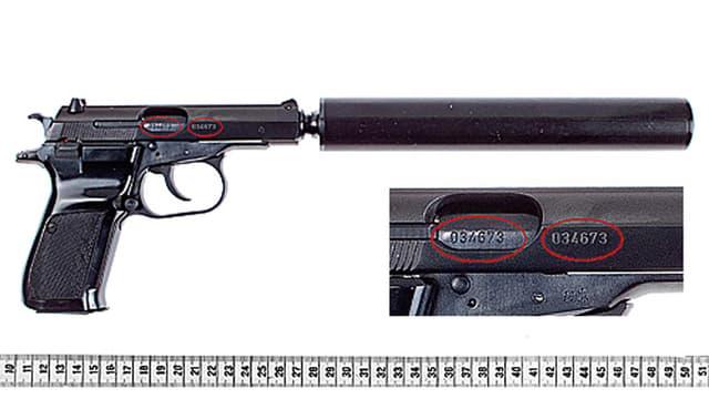 Die Pistole vom Typ Ceska 83, die für neun Morde der NSU-Terrorzelle verwendet wurde.