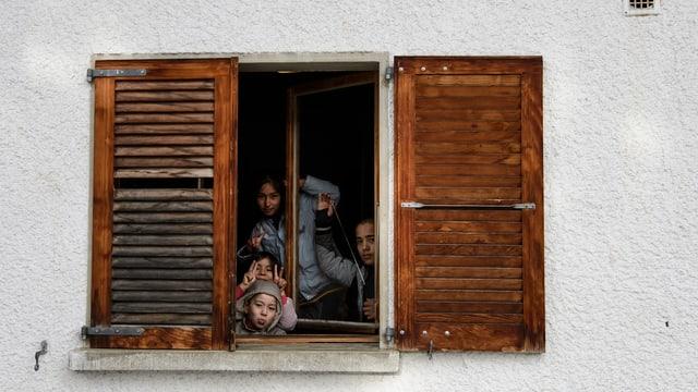 Eine Flüchtlingsfamilie in einer Einrichtung bei Villars-sur-Ollon.