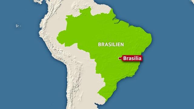 Karte Brasiliens, Hauptstadt Brasilia markiert