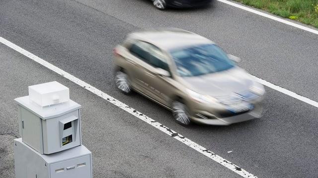 Tempoblitzkasten und ein Auto, das so schnell daran vorbei fährt, dass es unscharf ist.